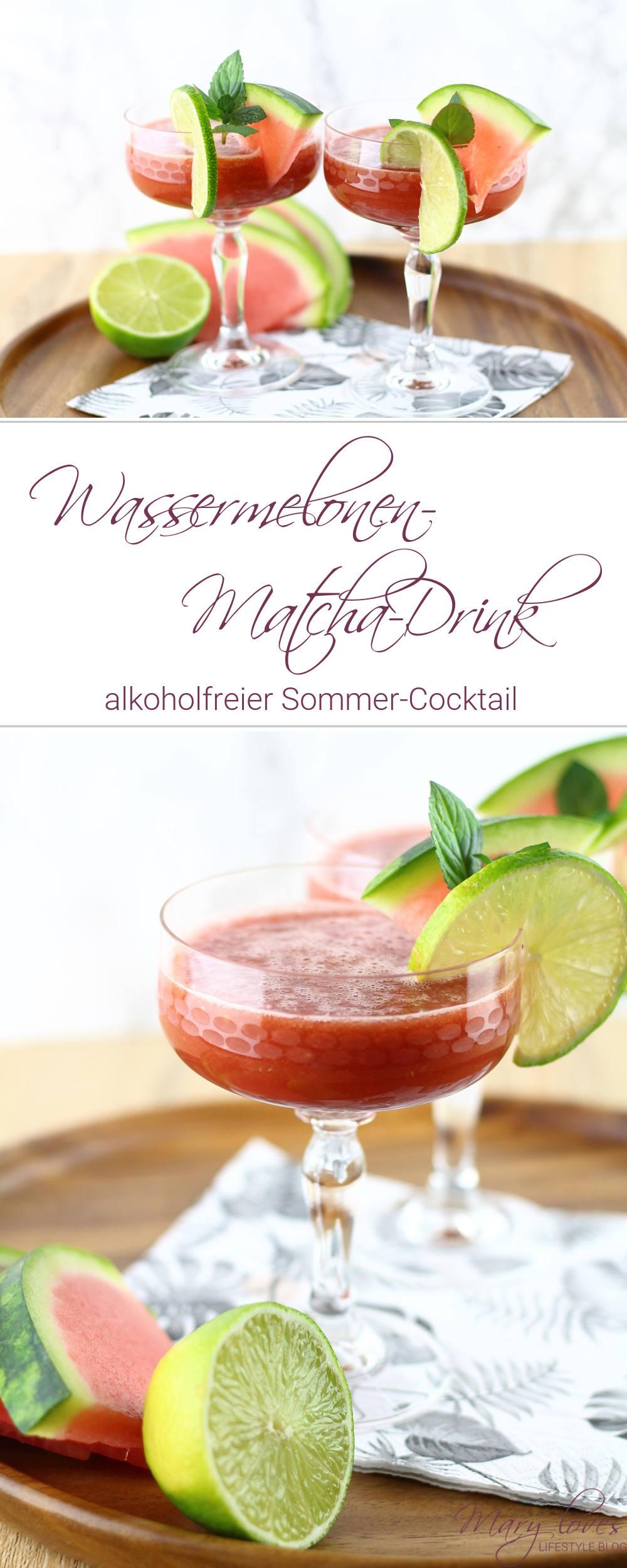 Alkoholfreier Sommer-Cocktail - Wassermelonen-Matcha-Drink mit Limette - #sommercocktail #summerdrink #wassermelonenmatchadrink #sommergetränk #wassermelone #matcha #drink #alkoholfrei #getränk