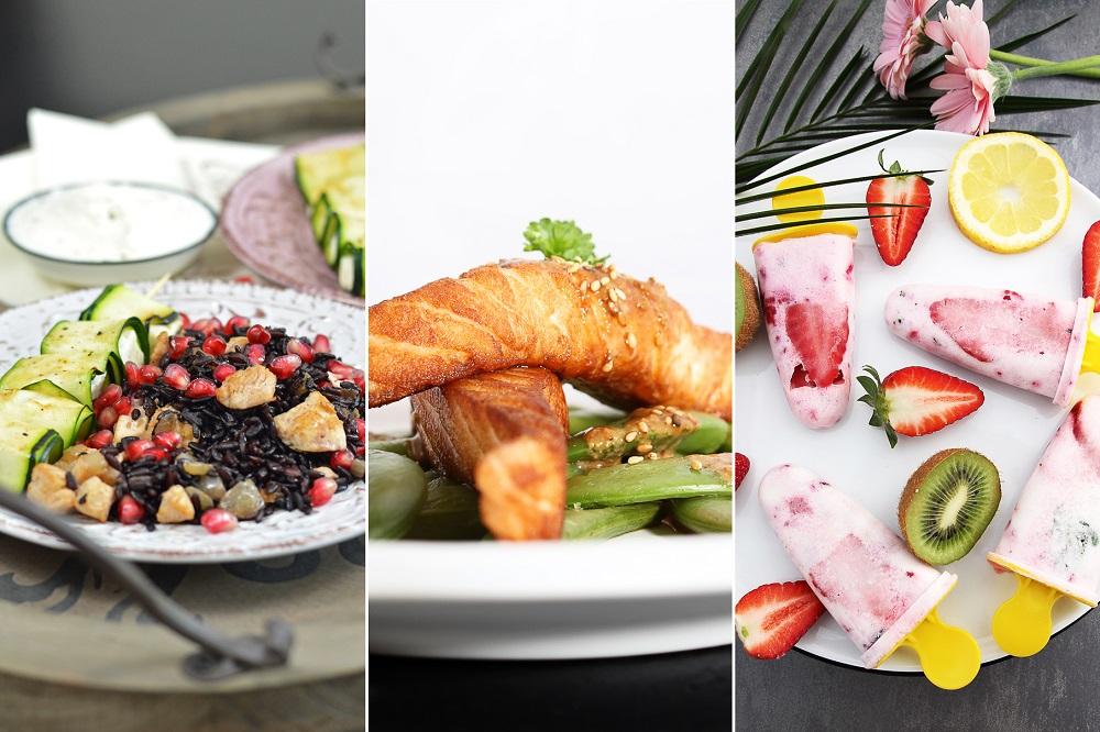Auszug aus dem Blogger-CookBook Sommer 2016 Fotos: Bunter Sommerreis mit Zucchini-Spießen von Dear | Lachs auf Zuckerschoten von Filiz | Beeren-Joghurt-Popsicles von Andrea