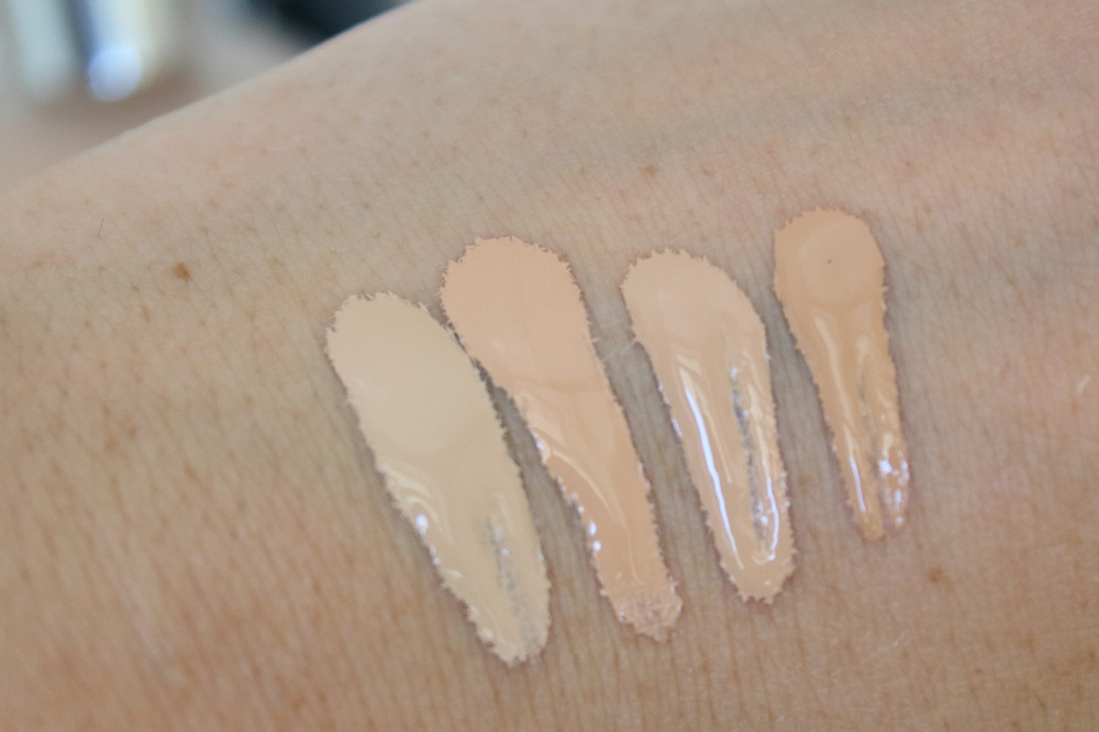 Catrice Neuheiten Teint Herbst/Winter 2016/2017 - HD Liquid Coverage Foundation - 010 Light Beige, 020 Rose Beige, 030 Sand Beige & 040 Warm Beige - swatches