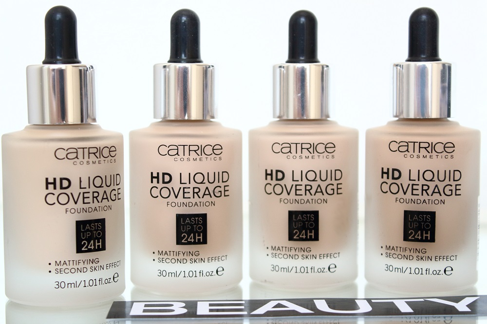 Catrice Neuheiten Teint Herbst/Winter 2016/2017 - HD Liquid Coverage Foundation - 010 Light Beige, 020 Rose Beige, 030 Sand Beige & 040 Warm Beige