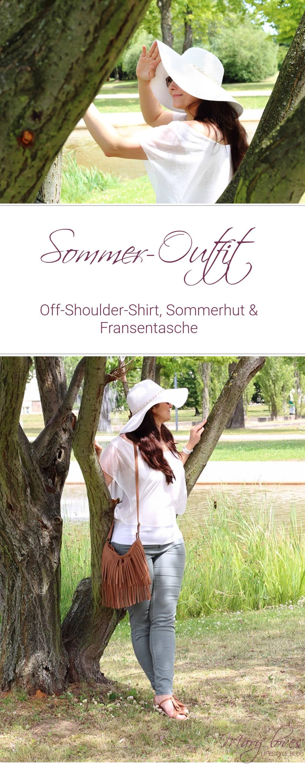 Sommer-Outfit - Off-Shoulder-Shirt, Sommerhut & Fransentasche