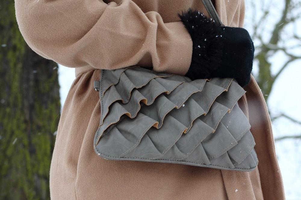 [Outfit] Wintermantel, Strickkleid und Fake Fur Stiefeletten, Tasche von New Yorker