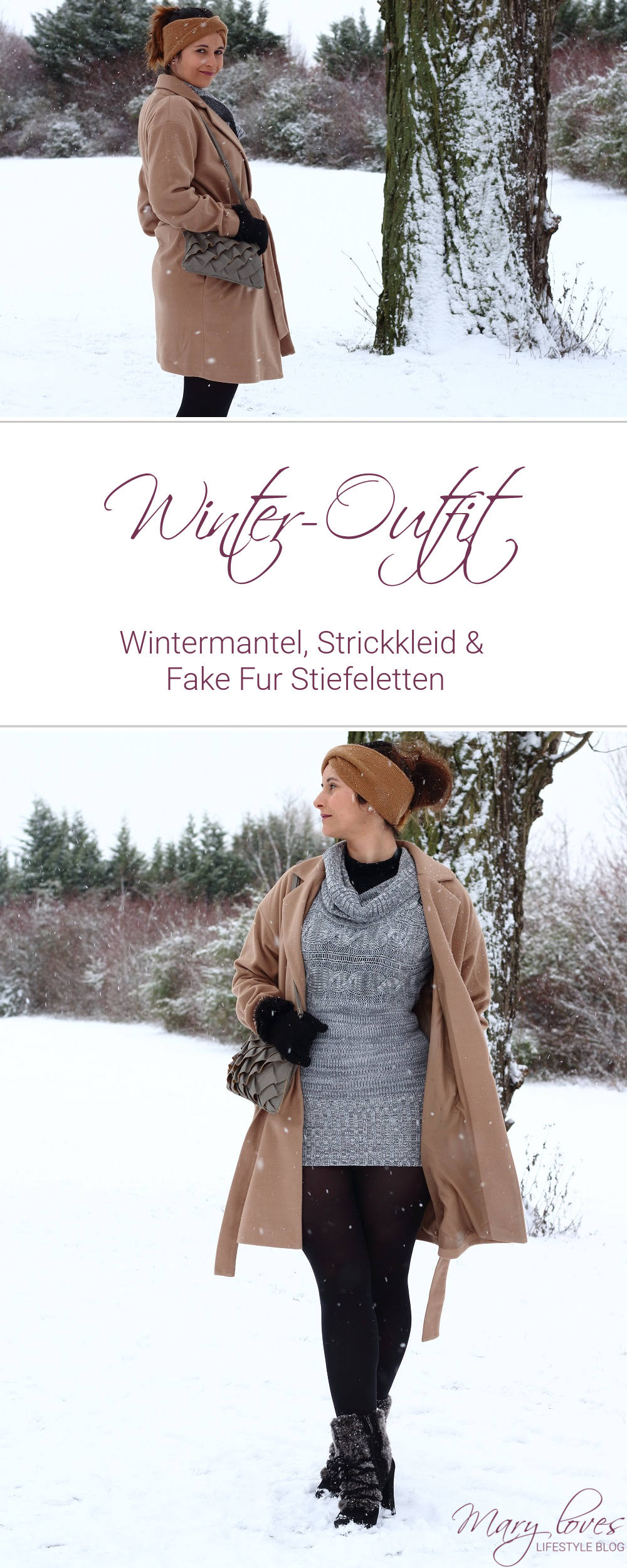 [Winter-Outfit] Wintermantel, Strickkleid und Tamaris Fake Fur Stiefeletten