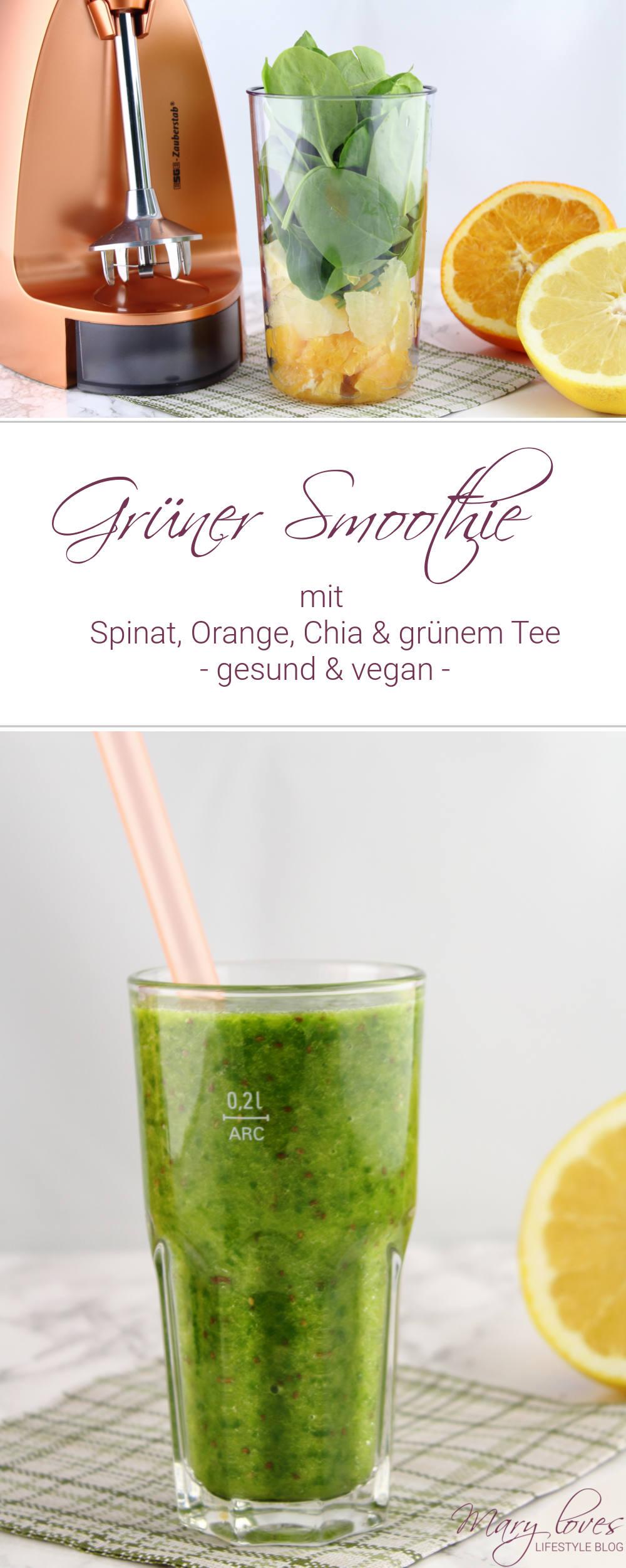 [Rezept] Grüner Spinat-Orangen-Smoothie & ein Neuzugang in meiner Küche - green smoothie, vegan, gesund, lecker, spinat, orange, grapefruit, chia samen, grüner tee, healthy