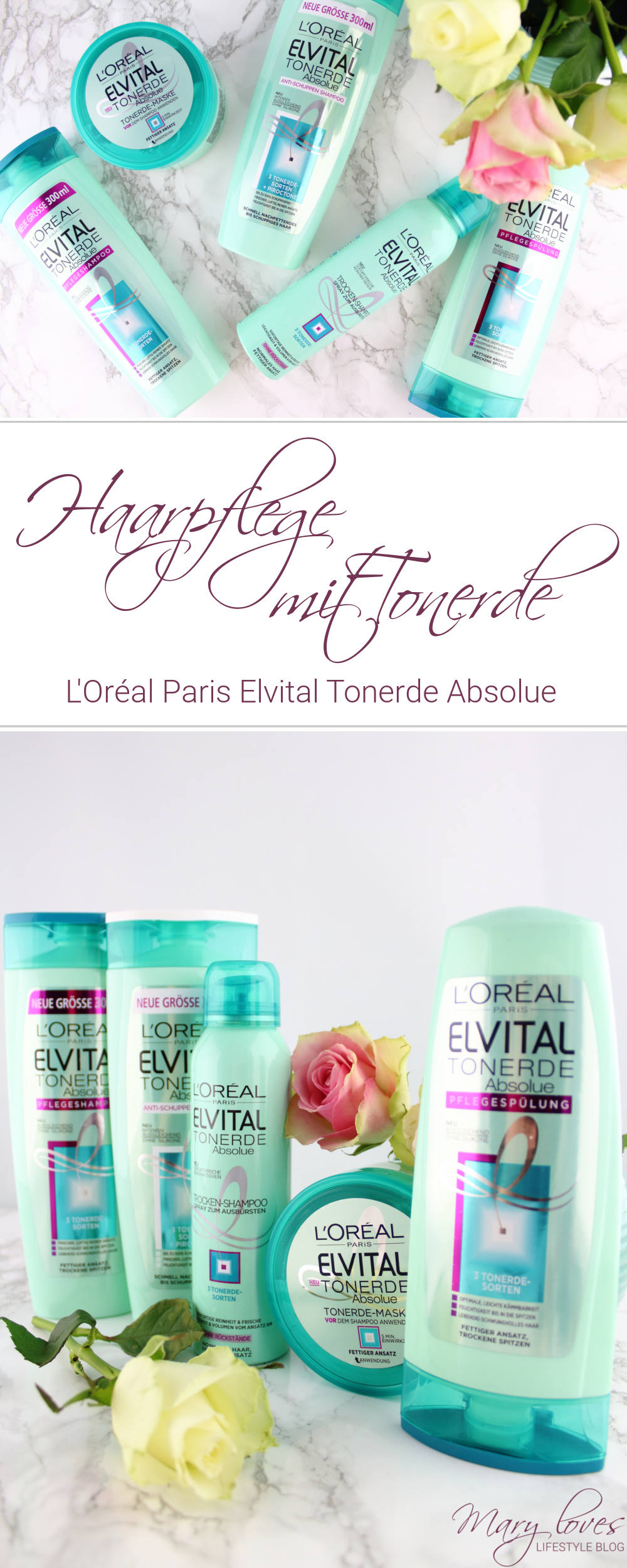 Haarpflege mit Tonerde - L'Oréal Paris Elvital Tonerde Absolue Haarpflege-Serie im Test - Haarpflegeprodukte mit Tonerde - Tonerde-Maske - Trocken-Shampoo - Tonerde Pflegespülung - Anti-Schuppen Shampoo