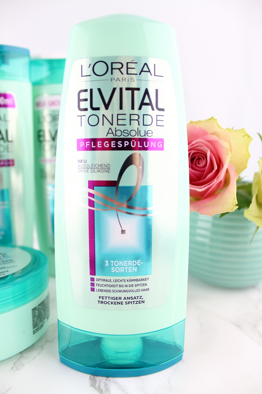 Haarpflege mit Tonerde - L'Oréal Paris Elvital Tonerde Absolue Haarpflege-Serie im Test - Haarpflegeprodukte mit Tonerde - Tonerde Pflegespülung gegen fettigen Ansatz und trockene Spitzen