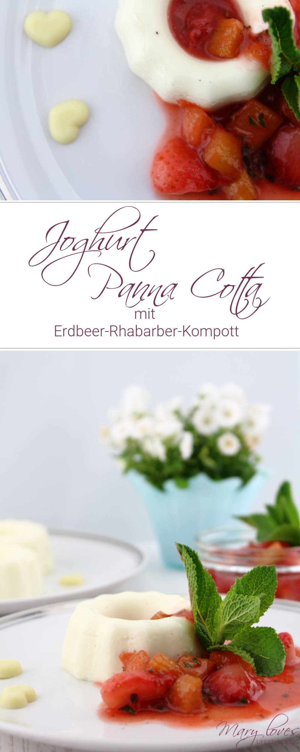 [Anzeige] Joghurt Panna Cotta mit Erdbeer-Rhabarer-Kompott - #joghurtpannacotta #pannacotta #erdbeeren #rhabarber #erdbeerrhabarber #kompott