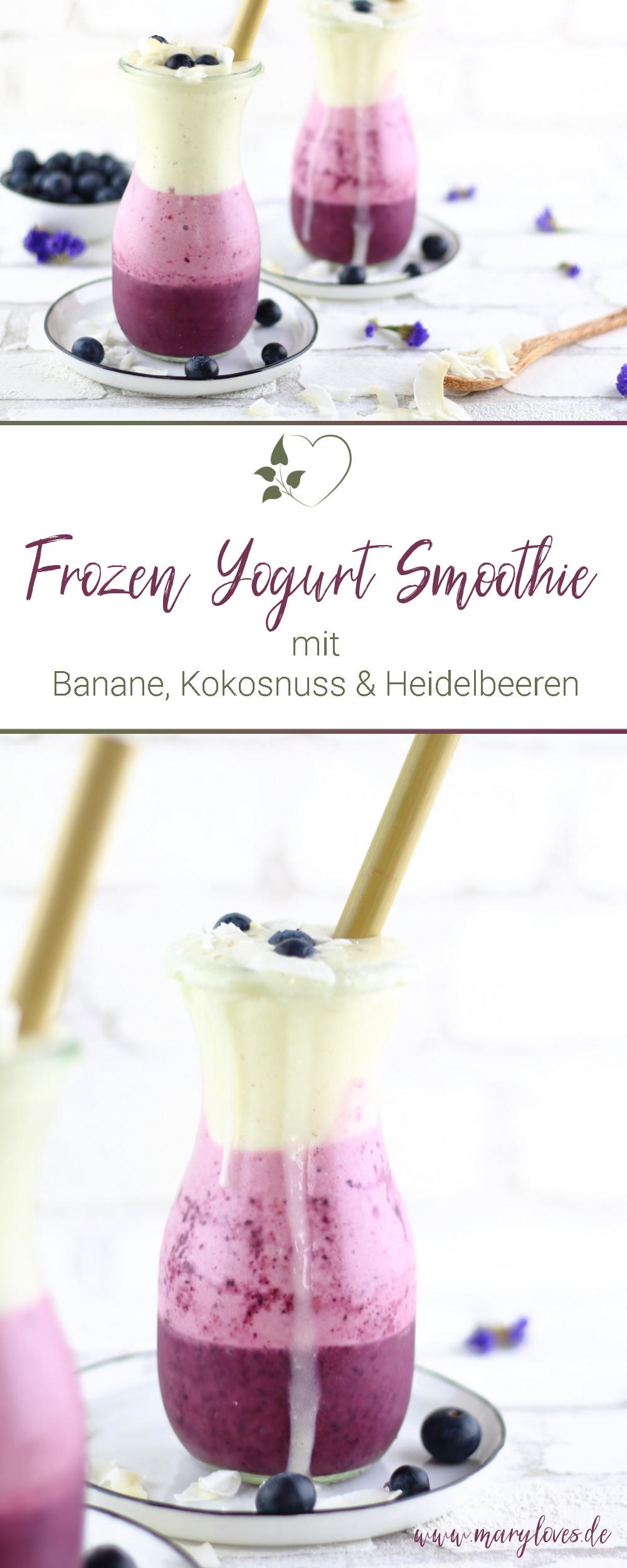 Frozen Yoghurt Smoothie mit Bananen und Heidelbeeren - #froyosmoothie #smoothie #frozenyogurtsmoothie #layeringsmoothie #frozenyogurt #heidelbeersmoothie #zuckerfrei