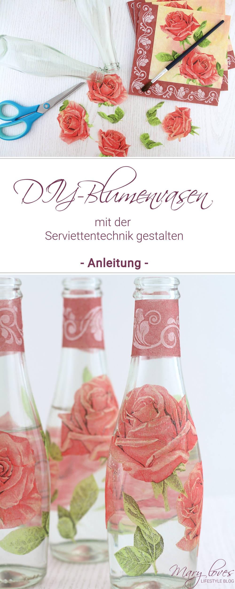 DIY-Blumenvasen mit Serviettentechnik gestalten - alte Glasflaschen mit Servietten verschönern und upcyclen - Serviettentechnik auf Glasflaschen anwenden