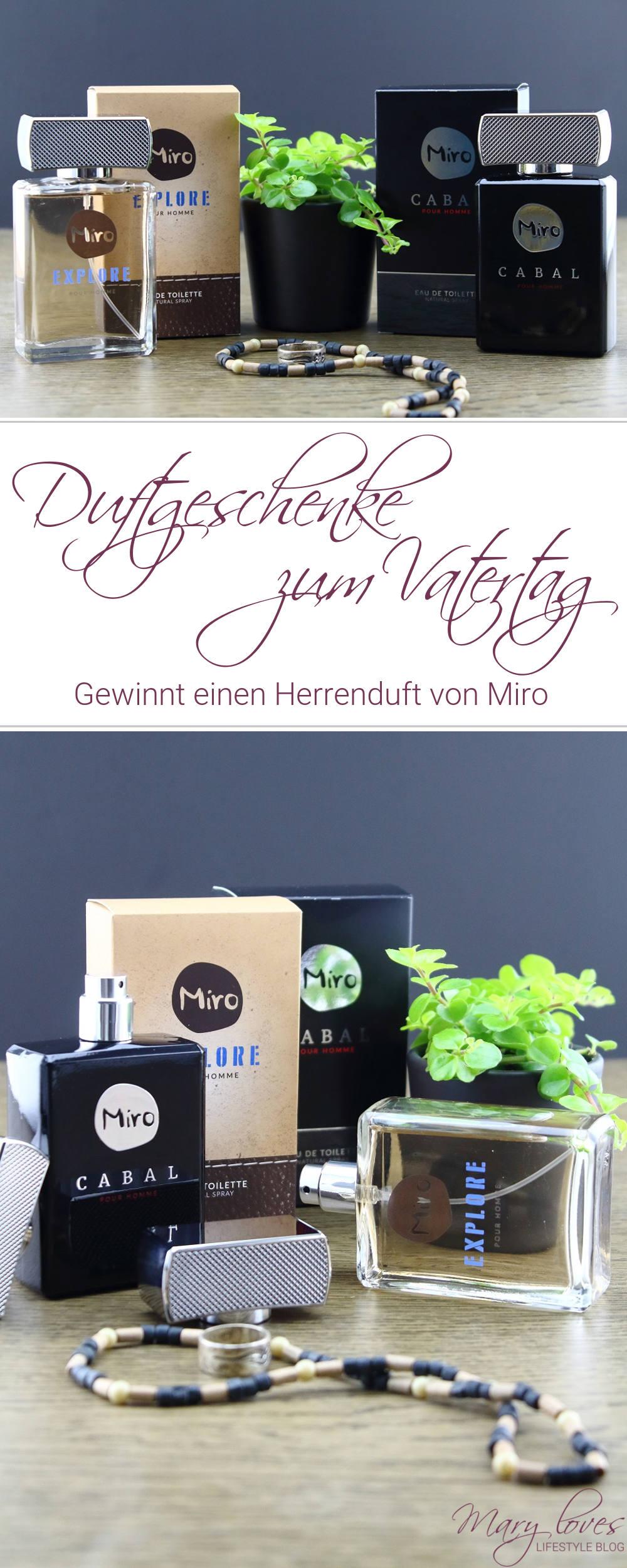 Miro Herrendüfte - Parfum zum Vatertag & Giveaway - Gewinnt einen Herrenduft von Miro zum Vatertag - Duftgeschenke für den Papa - Miro Cabal Pour Homme - Miro Explore Pour Homme