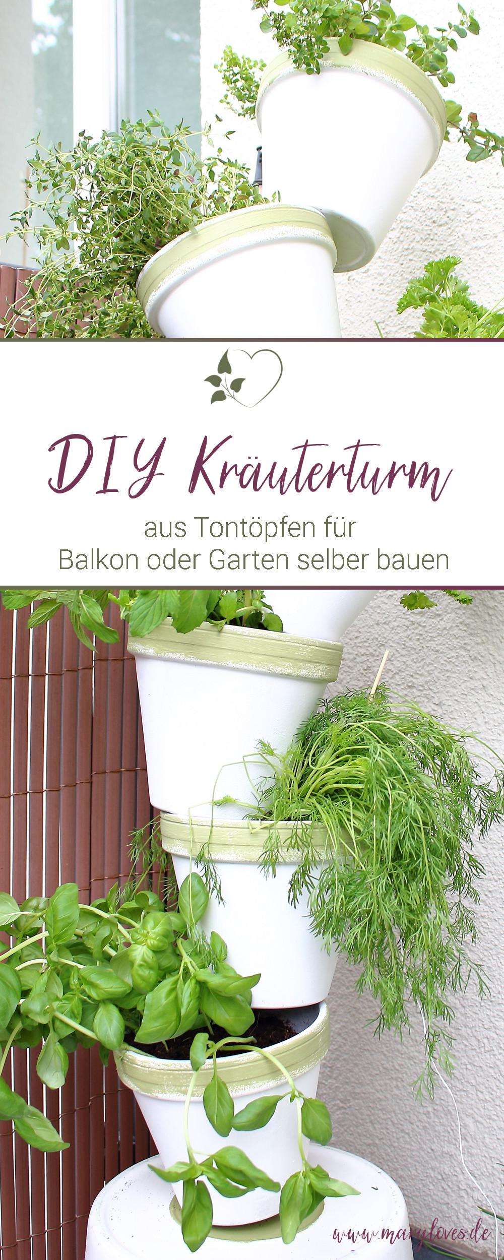 [Anzeige] DIY-Kräuterturm aus Tontöpfen für Balkon oder Terasse selber bauen - #Kräuterturm #Tontöpfe #Kräutereinpflanzen #Kräuterbalkon #balkonpflanzen #DIY #DIYKräuterturm