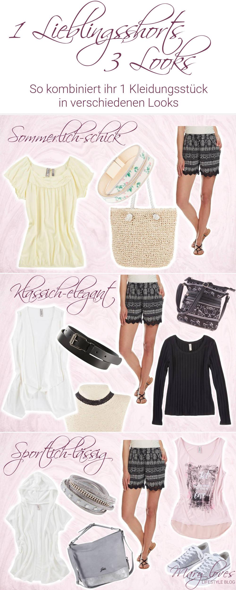 1 neue Lieblingsshorts - 3 Looks - So kombiniert ihr eure neue Sommershorts in verschiedenen Looks