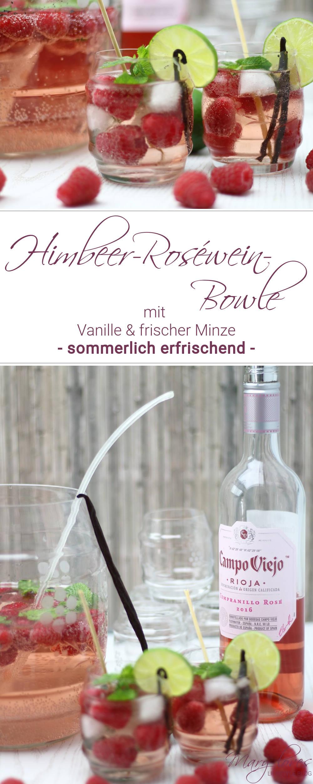 Rezept für eine sommerliche Himbeer-Roséwein-Bowle mit Vanille und frischer Minze
