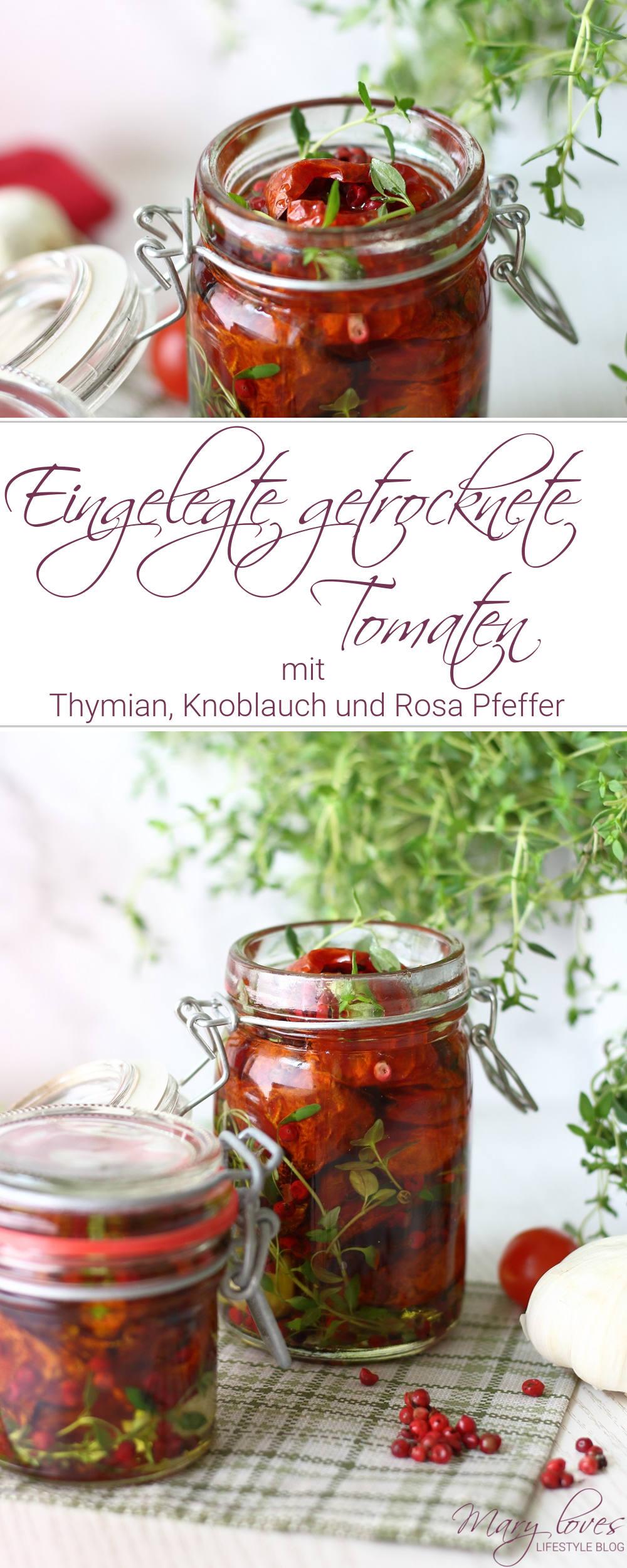Rezept für eingelegte getrocknete Tomaten mit Thymian, Knoblauch und Rosa Pfeffer - #getrocknetetomaten #tomaten #tomateninöl #einlegen #einwecken #ofentomaten