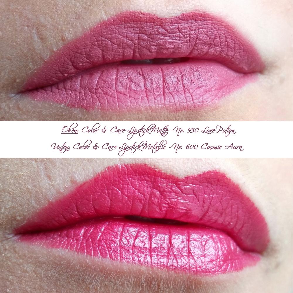 [Anzeige - Produktplatzierung] L.O.V Neuheiten Herbst 2017 - Lipaffair Color & Care Lipstick - No 930 Matte Love Potion & No 600 Metallic Cosmic Aura - Tragebilder