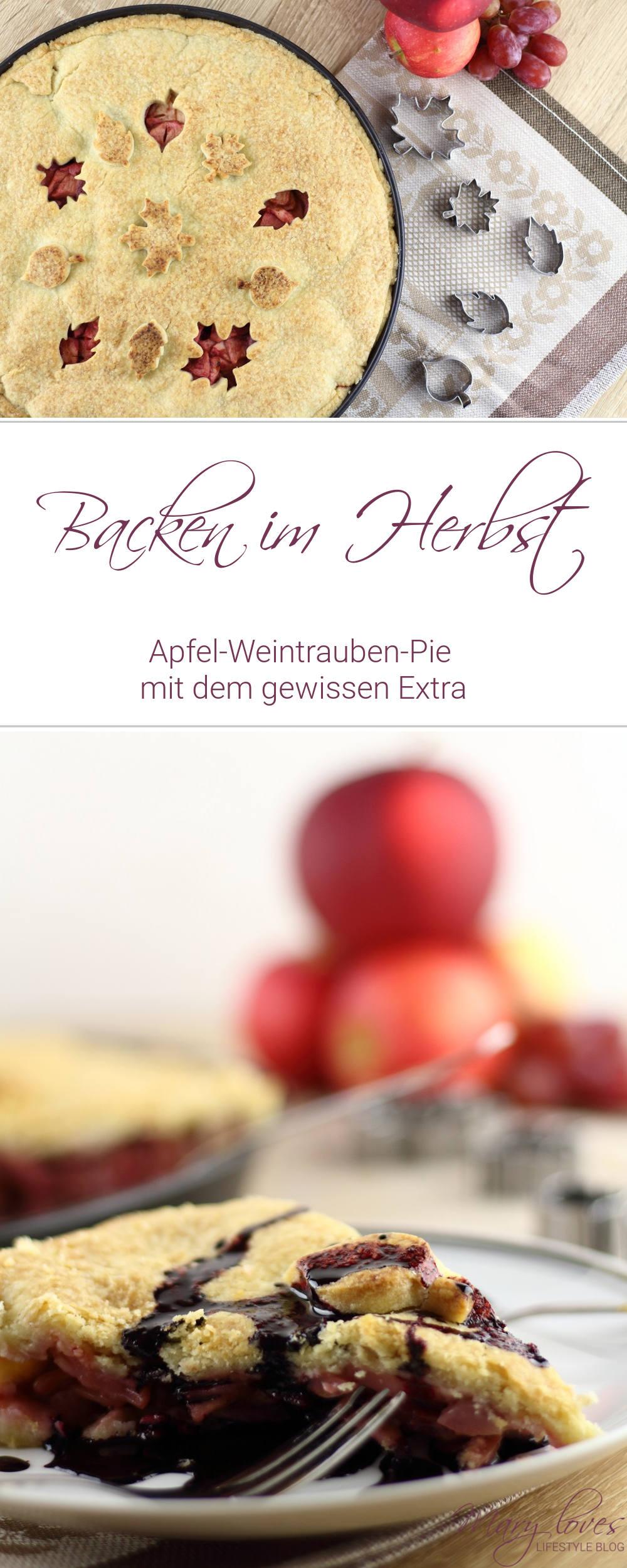 [Anzeige] Backen im Herbst - Apfel-Weintrauben-Pie mit dem gewissen Extra von Eat a Rainbow - #apfelweintraubenpie #pie #kuchenrezept #kuchen #eatarainbow