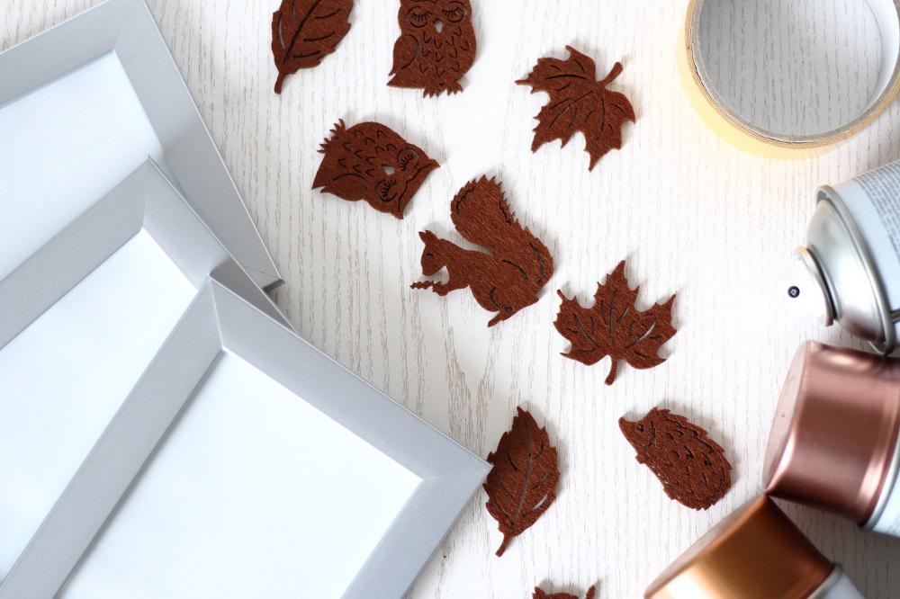 [Herbst-DIY] Bilderrahmen in Metallicfarben und mit herbstlichen Motiven - Material