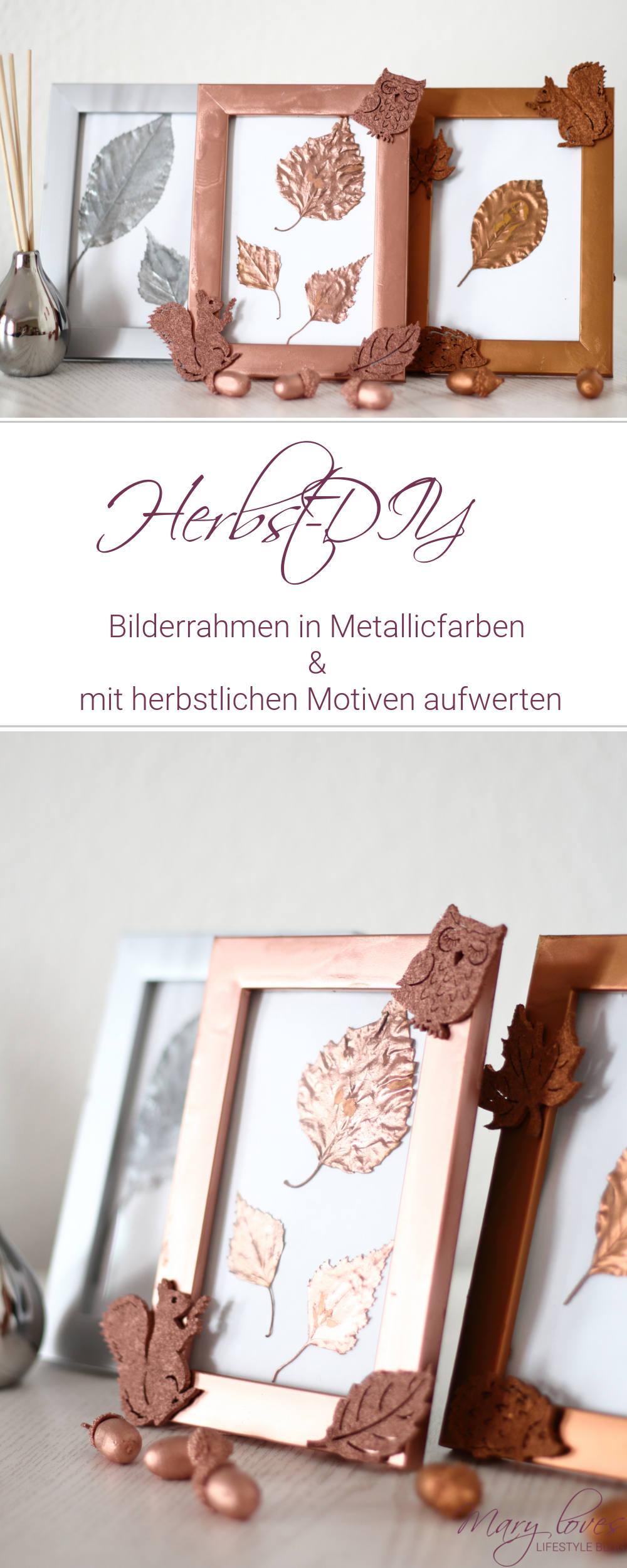 [Herbst-DIY] Bilderrahmen in Metallicfarben und mit herbstlichen Motiven aufwerten #herbstdiy #upcycling #herbstdeko #metallics