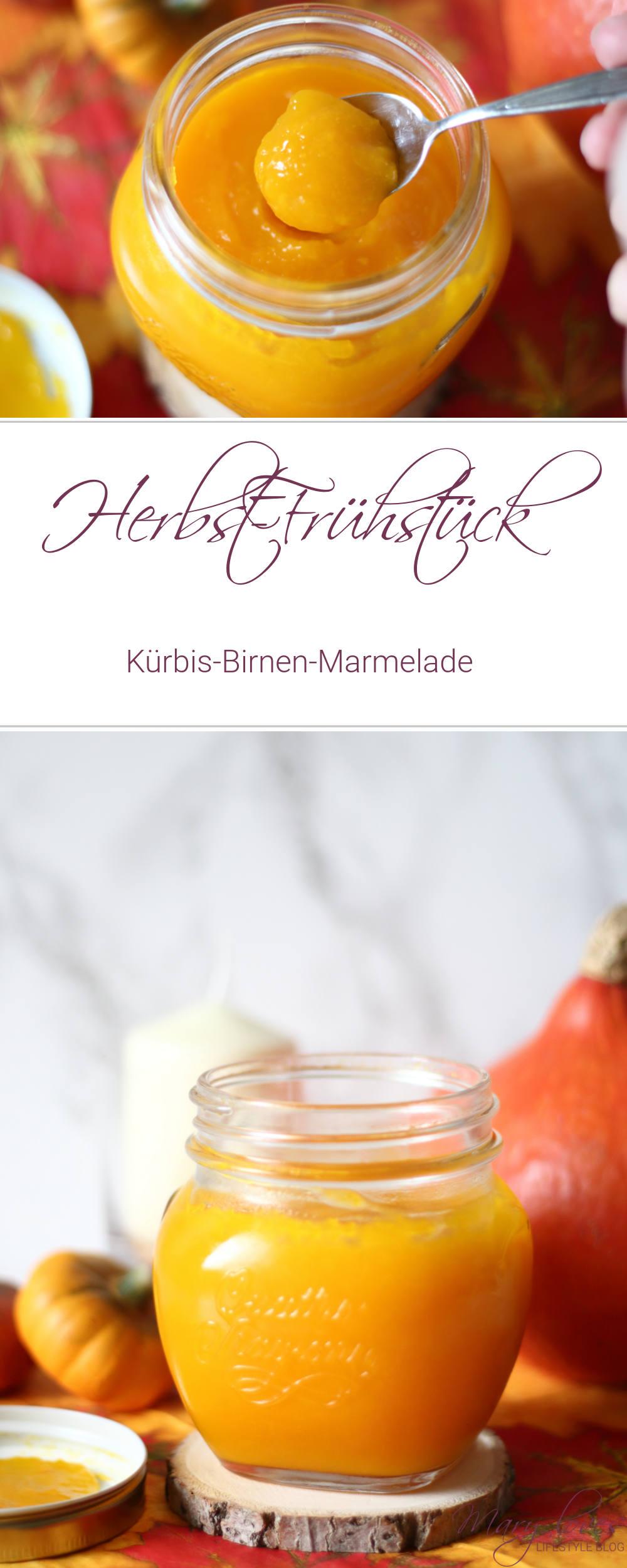 Herbst-Frühstück - Kürbis-Birnen-Marmelade - Rezept für eine süße Kürbismarmelade mit Birnen - #kürbis #kürbisrezept #marmelade #herbstrezept