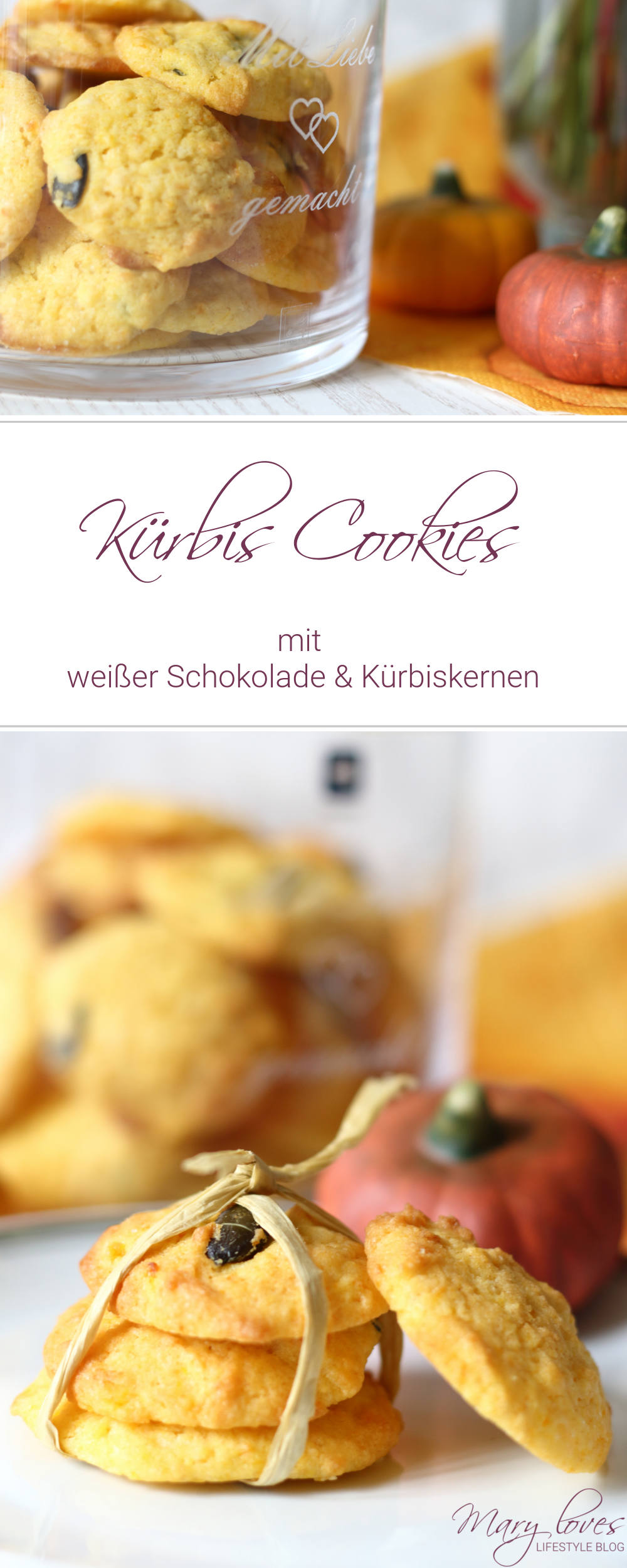 Kürbis Cookies mit weißer Schokolade und Kürbiskernen - Rezept für herbstliche Kürbiskekse - #kürbiscookies #kürbis #kürbisrezept #pumpkincookies #cookies