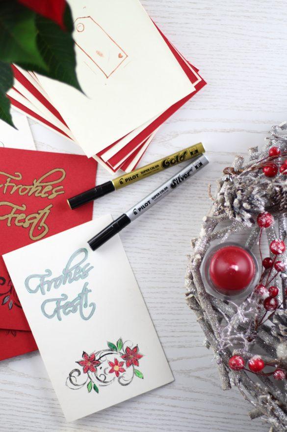 [Anzeige] DIY-Weihnachtskarten - Kreative Weihnachtsgrüße selbst gestalten mit dem Kreativ-Sortiment von Pilot Pen