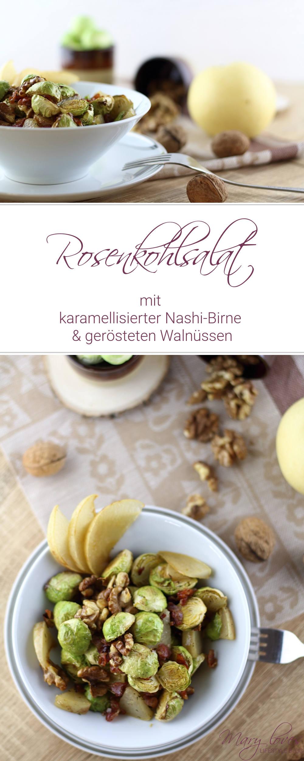 Winterrezept - Rosenkohlsalat mit karamellisierter Nashi-Birne & gerösteten Walnüssen - #rosenkohl #rosenkohlsalat #wintersalat