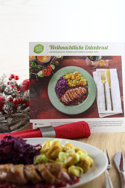 [Anzeige] Ein leckeres Weihnachtsmenü mit der HelloFresh Weihnachtsbox - Hauptgang Weihnachtliche Entenbrust mit Kürbisgnocchi, Rotkohl und Cranberry-Orangen-Sauce