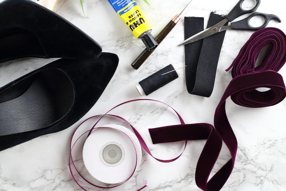DIY Designer-Schuhe - So wertet ihr schlichte Samtpumps elegant auf - Materialien