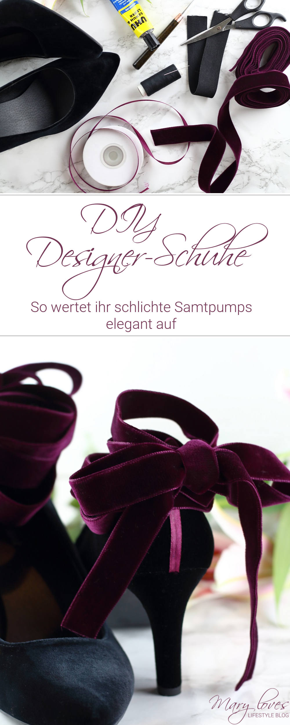 DIY Designer-Schuhe - So wertet ihr schlichte Samtpumps elegant auf - #diy #diyschuhe #diydesignerschuhe #pimpmyshoes #sjpbysarahjessicaparker #selbstgemacht #diyfashion #sjp