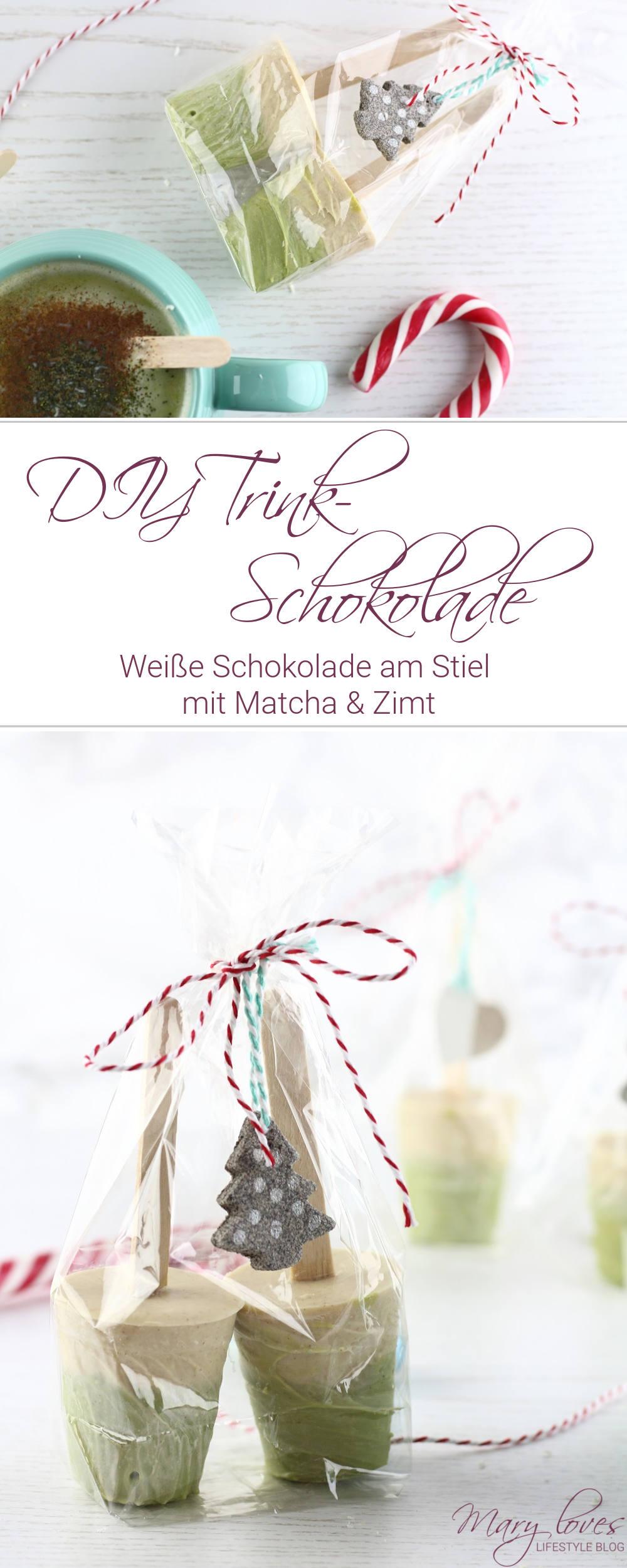 DIY Trinkschokolade am Stiel - Weiße Schokolade mit Matcha und Zimt - #diytrinkschokolade #schokoladeamstiel #weißeschokolade #heißeweißeschokolade #matcha #heißeschokolade #geschenkidee
