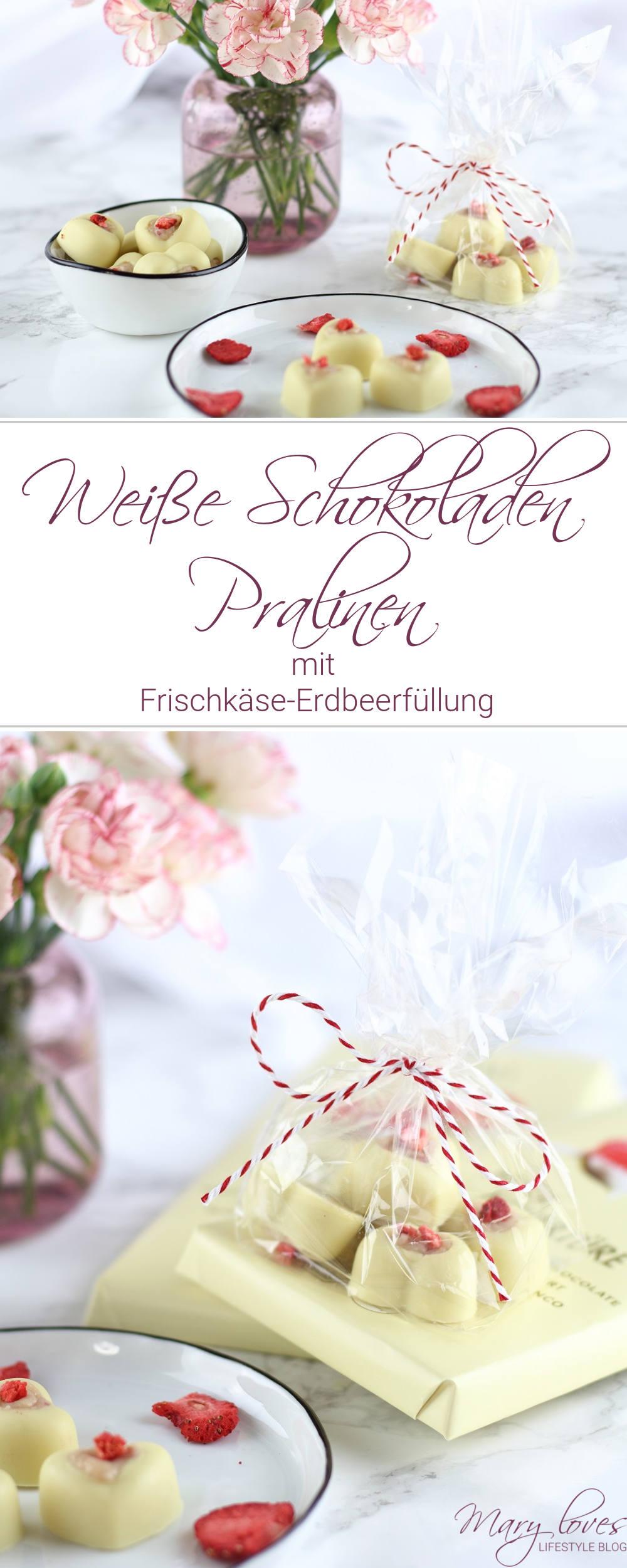 [Anzeige] Weiße Schokoladen Pralinen mit Frischkäse-Erdbeerfüllung als süße Geschenkidee - #pralinen #schokolade #küchengeschenk #schokolade #geschenkidee #muttertag #valentinstag