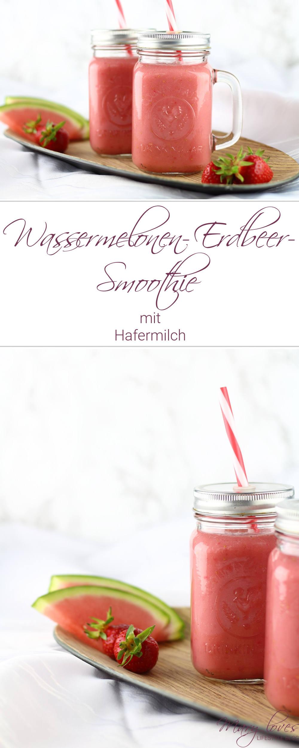 Cremiger Wassermelonen-Erdbeer-Smoothie mit Hafermilch - #smoothie #wassermelonensmoothie #erdbeersmoothie #vegan #smoothierezept #wassermelone #erdbeeren #hafermilch