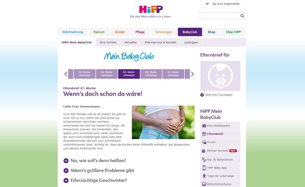 [Anzeige] HiPP Mein BabyClub - Elternbrief 27. Woche
