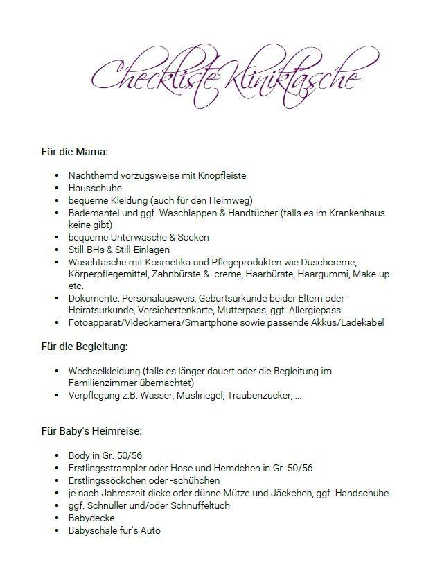 Checkliste Kliniktasche