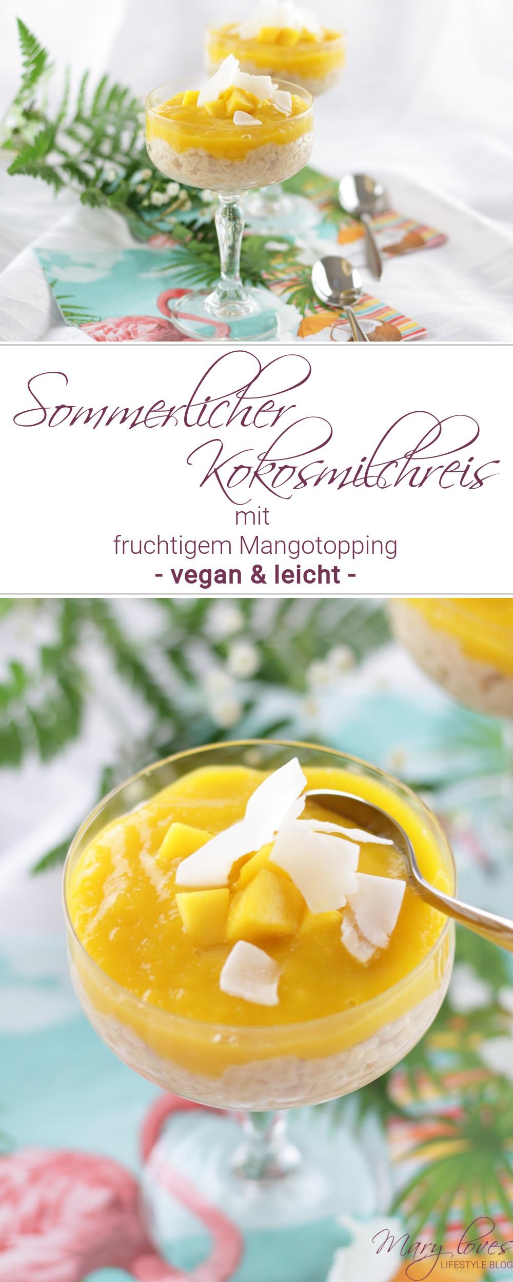 Sommerlicher Kokosmilchreis mit fruchtigem Mangotopping - #dessert #milchreis #kokosmilchreis #vegan #mango #mangomilchreis #sommerdessert #kokos #mangotopping #rezept #tropisch