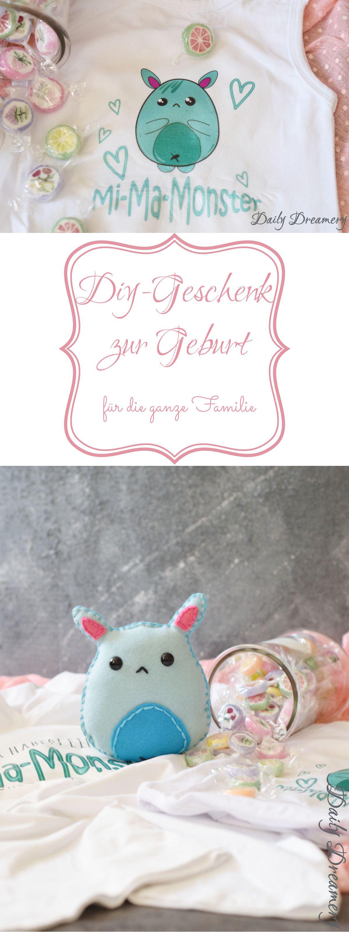 DIY-Geschenk zur Geburt: witziges Monsterchen für die ganze Familie - #diy #diygeschenk #geburtsgeschenk #geschenkzurgeburt #babygeschenk #baby #babybody #filzkuscheltier