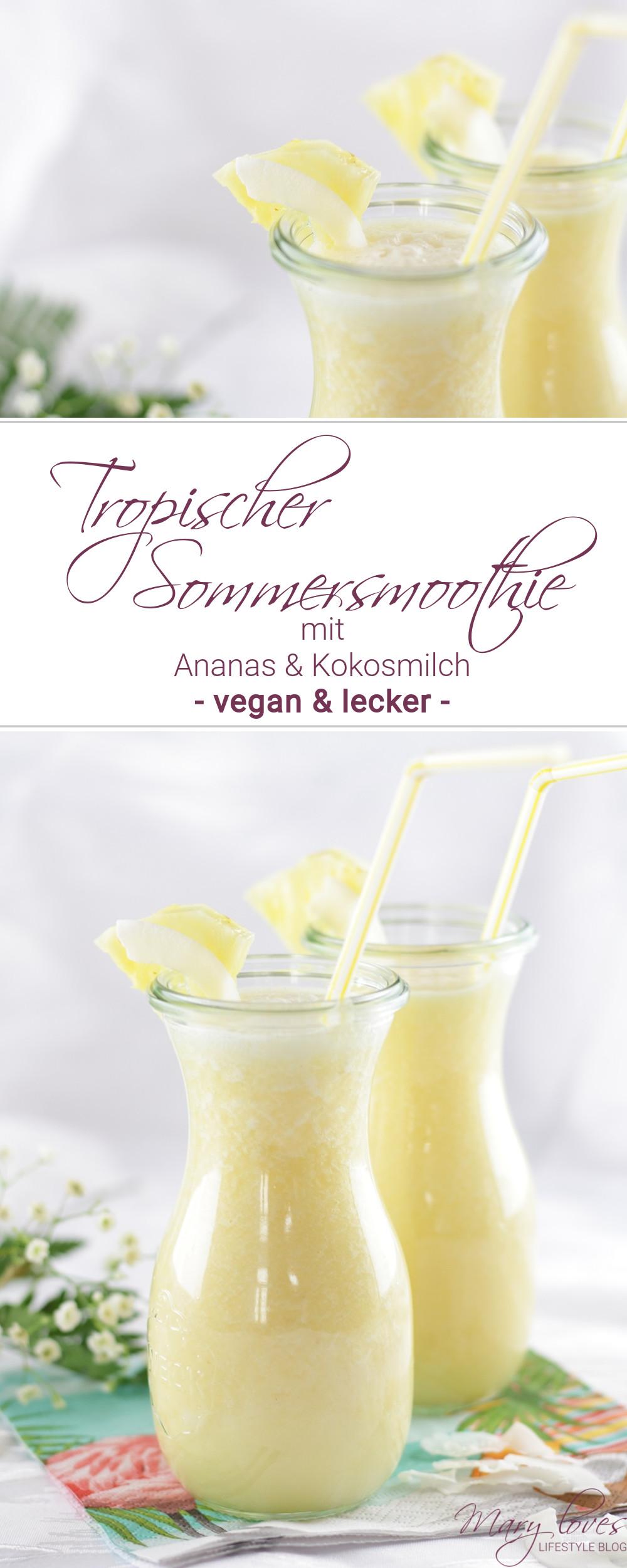 Tropisches Sommergetränk - Ananas-Kokos-Smoothie - #smoothie #ananassmoothie #kokossmoothie #kokos #kokosmilch #ananas #sommergetränk #getränk #sommersmoothie
