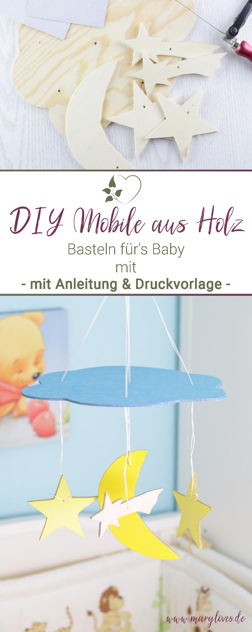 [Anzeige] Basteln für's Baby - DIY Mobile 'Wolke, Mond & Sterne' - #diy #diymobile #mobile #baby #bastelnfürsbaby #babyzimmer #pilotpintor #pilotkreativ #holzmobile #laubsägearbeit