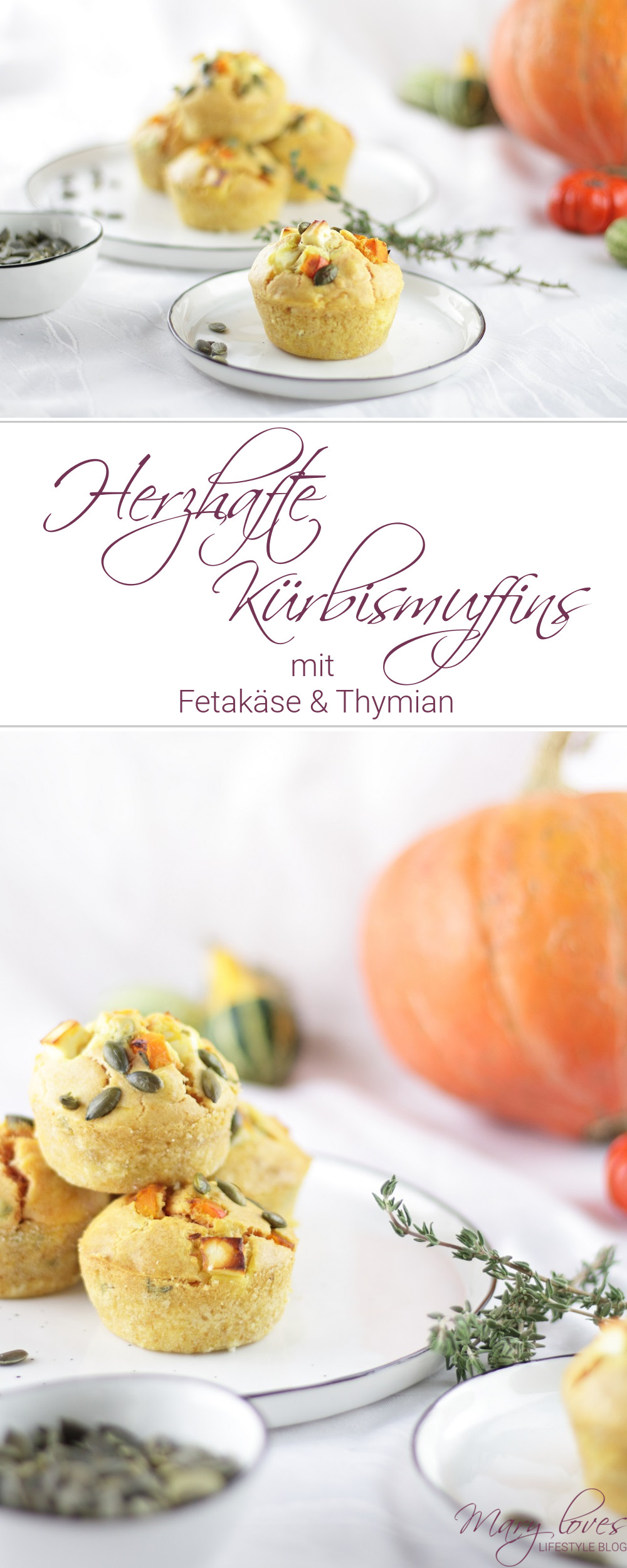 Herzhafte Kürbismuffins mit Feta & Thymian - #kürbis #kürbismuffins #herzhaft #kürbiszeit #kürbisrezept #kürbiszeit #herbstrezept #vegetarisch #muffins #pumpkin #feta