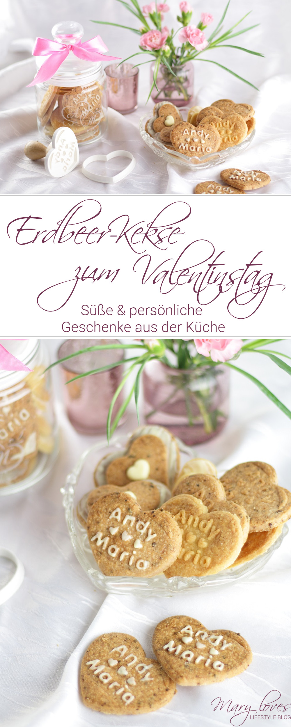 [Anzeige] Personalisierte Geschenke aus der Küche - Erdbeer-Kekse zum Valentinstag - #geschenkausderküche #küchengeschenk #erdbeerkekse #kekse #plätzchen #valentinstag #geschenkidee