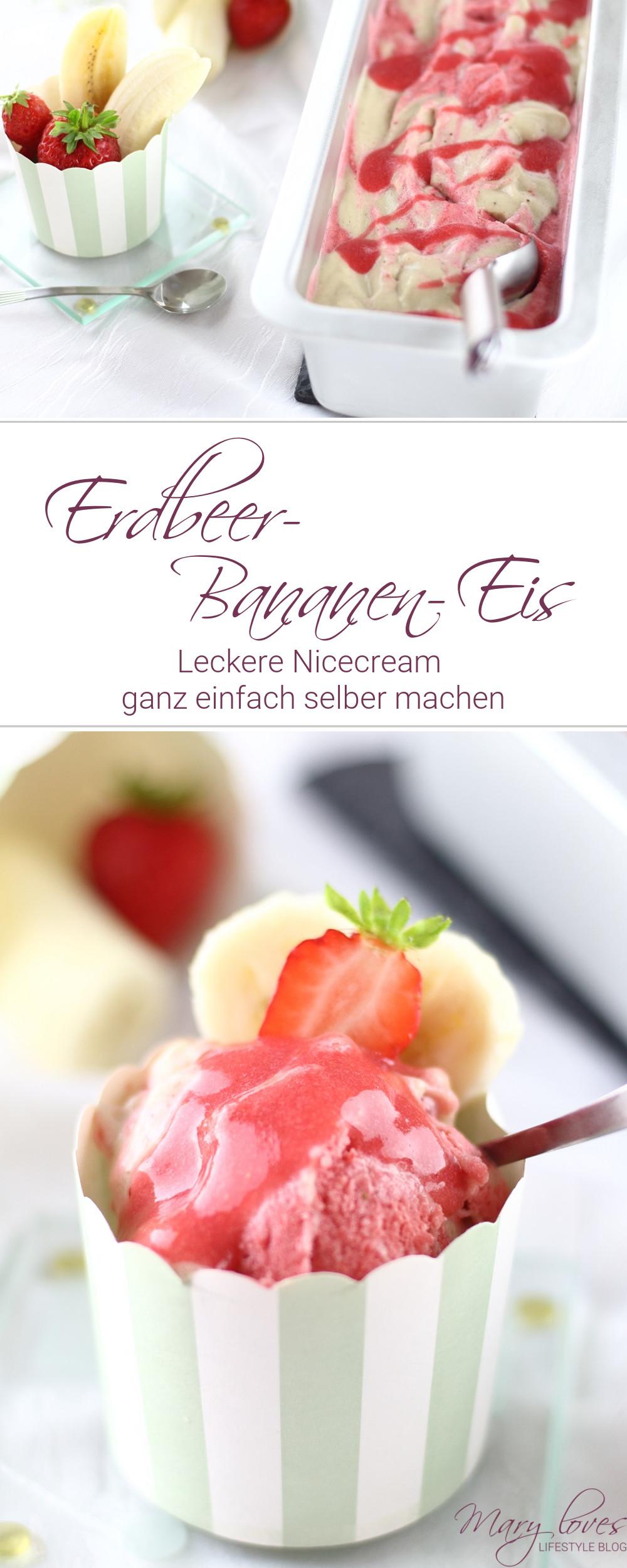 Nicecream - Leckeres Erdbeer-Bananen-Eis ohne Eismaschine - #nicecream #erdbeereis #bananeneis #erdbeerbananeneis #eiscreme #zuckerfrei #erdbeerzeit #bananen #erdbeeren #eisrezept #eis