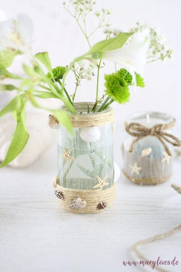 DIY Maritime Blumenvasen mit Muscheln aus alten Gläsern