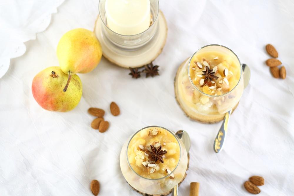 Süßes für den Herbst - Mandelmilchreis mit Birnen