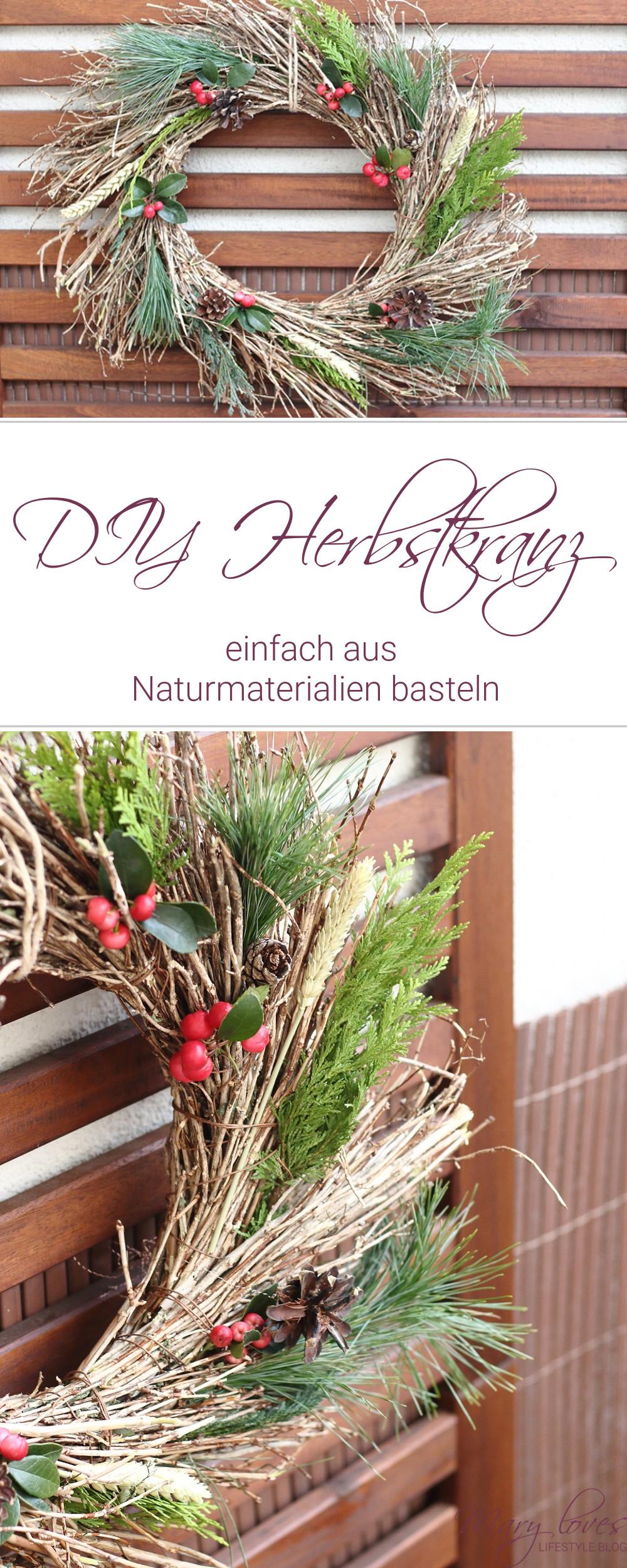 DIY Herbstkranz aus Naturmaterialien basteln - #herbstdeko #herbstkranz #diyherbstdeko #herbstbasteln #naturdeko #naturmaterialien #natürlichedeko #dekokranz