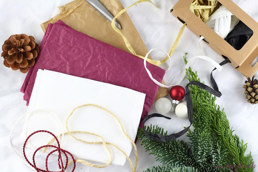 Materialien für nachhaltigere Geschenkverpackungen zu Weihnachten