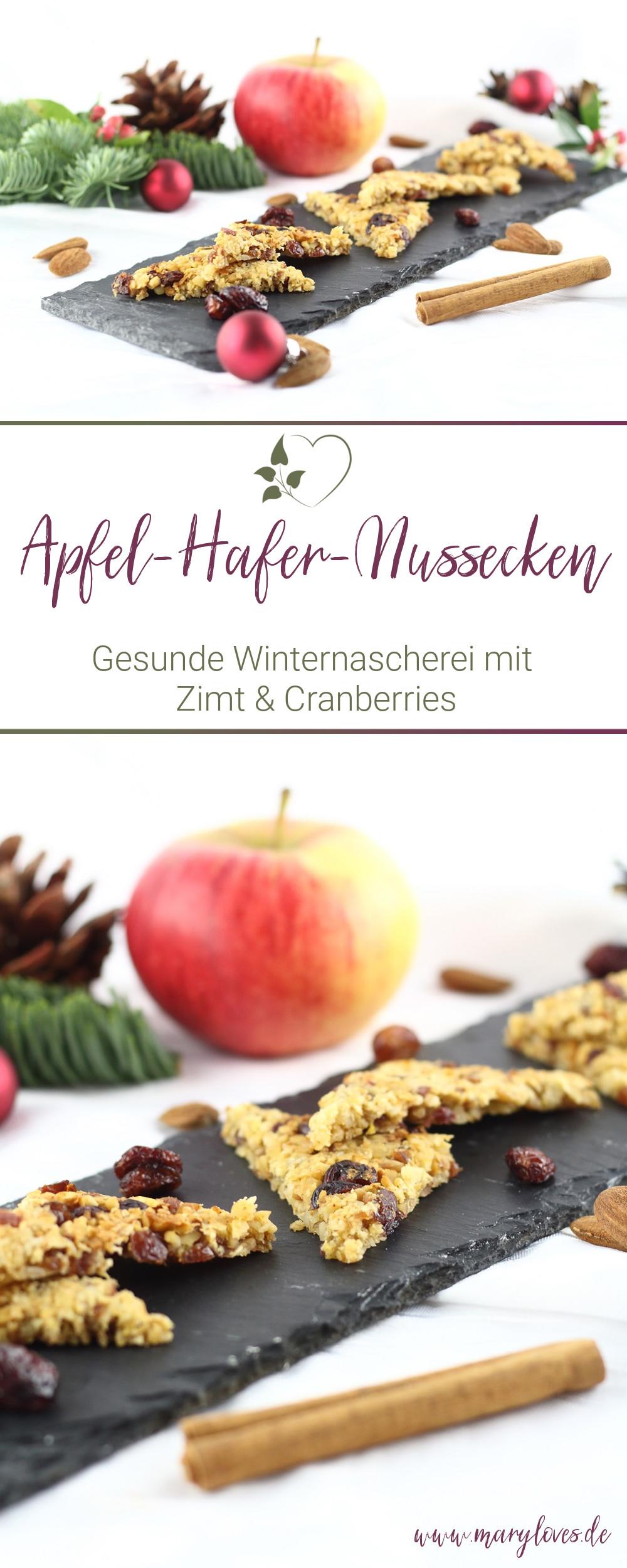 Winterliche Apfel-Hafer-Nussecken mit Cranberries - #apfelhafernussecken #zuckerfrei #gesunderezepte #müslinussecken #nussecken #babysnacks