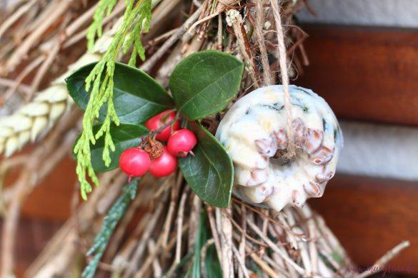 Aufgehangene selbstgemachte Vogelfutterringe mit Samen, Nüssen und Trockenfrüchten