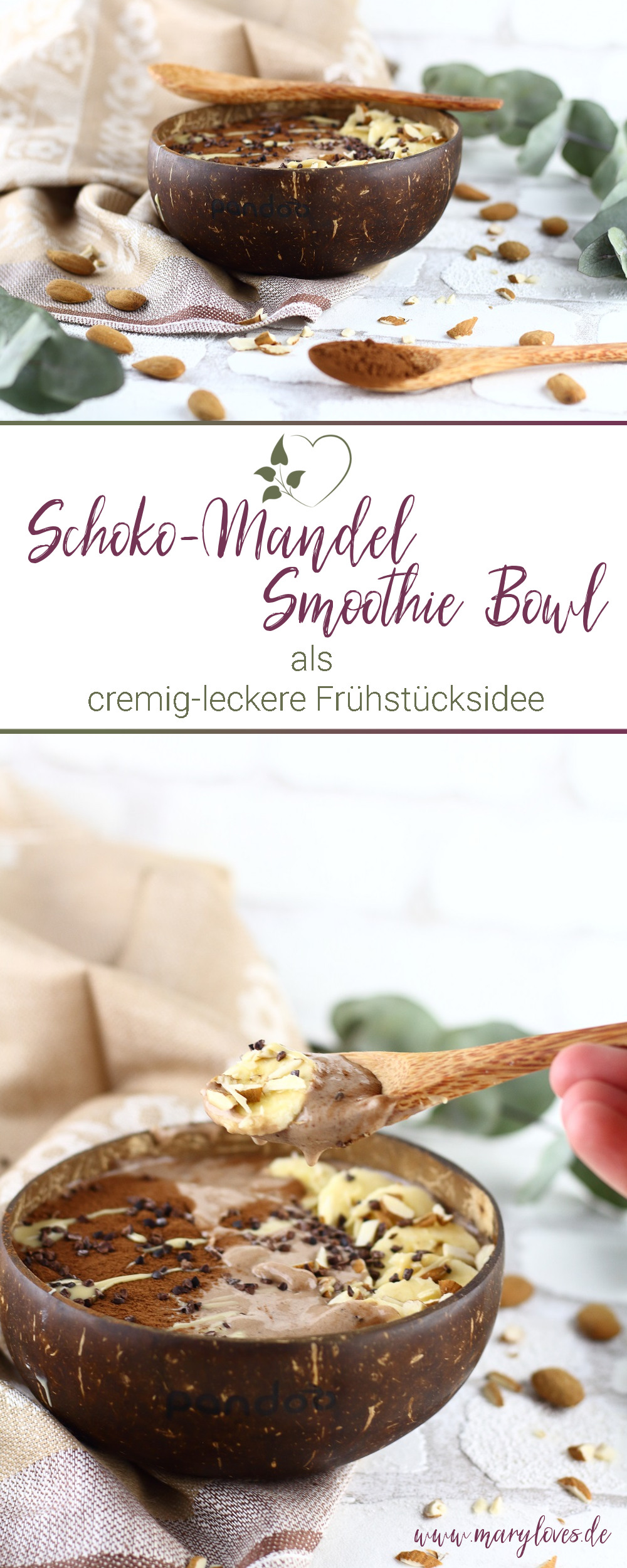 [Anzeige] Cremig-leckere Schoko-Mandel Smoothie Bowl - #smoothiebowl #smoothie #vegan #schokomandelsmoothiebowl #zuckerfrei #veganerezepte #zuckerfreierezepte #superfood