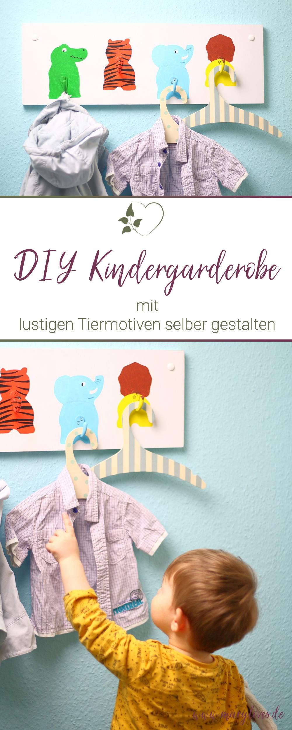 DIY Kindergarderobe mit lustigen Tiermotiven - #diygarderobe #diykindergarderobe #kindergarderobe #kinderzimmer #kinderzimmerdeko #kinderzimmerdiy