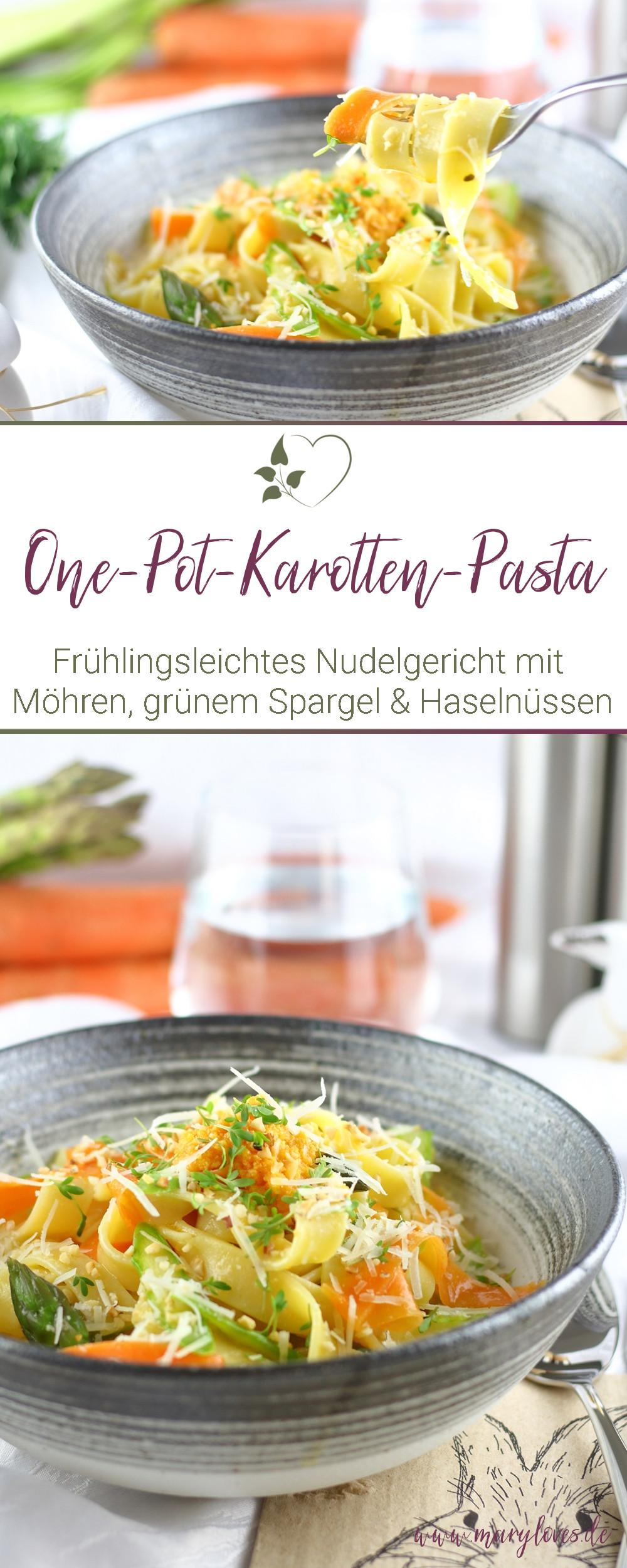 Frühlingsleichte One-Pot-Karotten-Pasta mit grünem Spargel & Haselnüssen - #onepotpasta #onepotkarottenpasta #pasta #frühlingspasta #frühlingsrezept #karottenpasta #vegetarisch #osterrezept